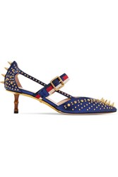 Gucci Bamboo Trimmed Studded Metallic Leather Pumps Navy