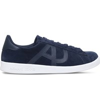 Armani Jeans Logo Detail Suede Trainers Navy