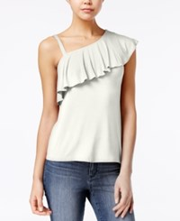 Almost Famous Juniors' Ruffled One Shoulder Top Gardenia