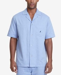 Nautica Men's Herringbone Cotton Pajama Shirt Cornflower