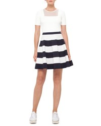Akris Punto Striped Circle Knit Skirt Cream Navy