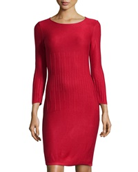 Marc New York By Andrew Marc Ribbed Long Sleeve Sheath Sweaterdress Classic Red