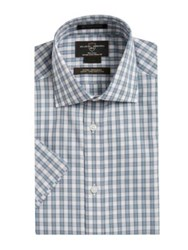 Black Brown Plaid Cotton Dress Shirt Blue