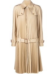 Junya Watanabe Comme Des Garcons Pleated Trench Coat Nude And Neutrals