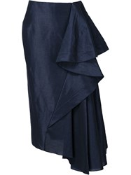 Esteban Cortazar Long Draped Skirt Blue