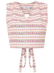 Olympiah Printed Papa Cropped Top Pink And Purple