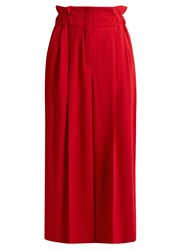 Sonia Rykiel Paperbag Waist Wide Leg Crepe Culottes Red