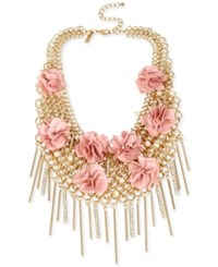 Inc International Concepts M. Haskell For Gold Tone Imitation Pearl And Fabric Flower Statement Necklace Only At Macy's