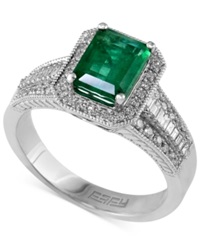 Effy Collection Brasilica By Effy Emerald 1 3 8 Ct. T.W. And Diamond 3 8 Ct. T.W. Emerald Cut Ring In 14K White Gold