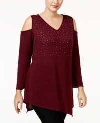 Belldini Plus Size Asymmetrical Cold Shoulder Tunic Black Cherry