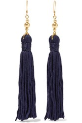 Kenneth Jay Lane Tasseled Gold Plated Earrings Navy