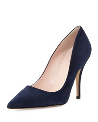 Licorice Suede Pointed Toe Pump Navy Kate Spade New York