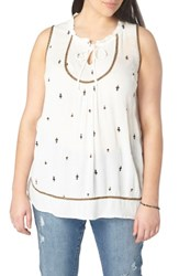 Evans Plus Size Women's Embroidered Top Ivory
