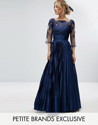 Chi Chi Petite Lace Top Maxi Dress With Pleated Skirt Navy