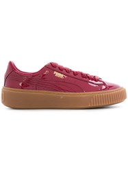 Puma Basket Platform Sneakers Patent Leather Polyester Rubber Red