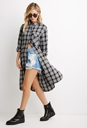 Forever 21 Plaid Flannel Shirt Dress Black White