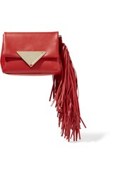 Sara Battaglia Teresa Fringed Leather Clutch Red