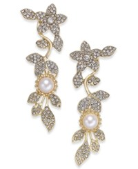 Inc International Concepts Gold Tone Imitation Pearl And Pave Drop Earrings Created For Macy's