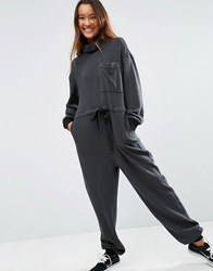Asos Premium Roll Neck Jersey Jumpsuit Charcoal Grey