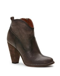 Frye Madeline Leather Short Boots Smoke Brown