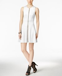 Bar Iii Zip Front Fit And Flare Scuba Dress Only At Macy's Washed White