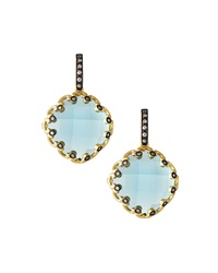 Freida Rothman Belargo Diamond Shape Cz Scalloped Drop Earrings