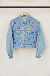 Urban Renewal Vintage Peace Love Mickey Mouse Cropped Denim Jacket Assorted