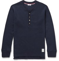 Thom Browne Ribbed Cotton Henley T Shirt Navy
