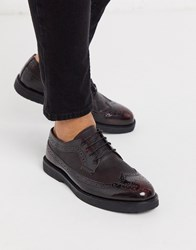 Kg By Kurt Geiger Brogue Lace Up Chunky Shoe In Wine Red