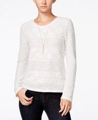 Maison Jules Lace Knit Top Only At Macy's Egret