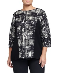 Lafayette 148 New York Dolman Sleeve Printed Blouse Black Multi