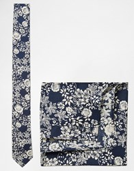 Asos Floral Tie And Pocket Square Set In Navy