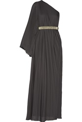 Halston One Shoulder Pleated Crepe Gown Gray