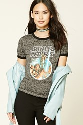 Forever 21 Star Wars Burnout Ringer Tee Grey Black