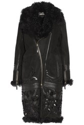 Roberto Cavalli Embroidered Cutout And Leather Trimmed Shearling Coat Black