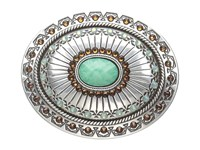 Mandf Western Tribal Stamped Oval Buckle Silver Turquoise Belts Multi