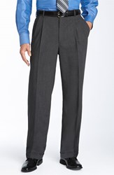 Men's Big And Tall Ballin Double Reverse Pleated Wool Twill Trousers Grey