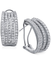 Crislu Platinum Over Sterling Silver Crystal Multi Row Hoop Earrings