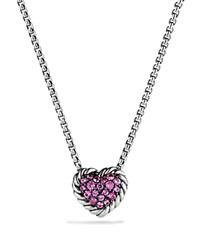 David Yurman Heart Pendant Necklace With Pink Sapphire Pink Silver