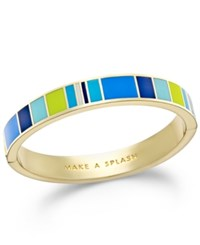 Kate Spade New York Gold Tone 'Make A Splash' Enamel Striped Hinge Bangle Bracelet