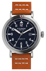 Filson 'Scout' Leather Strap Watch 46Mm Tan Navy