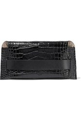 Iris And Ink Woman Asa Glossed Croc Effect Leather Pouch Black