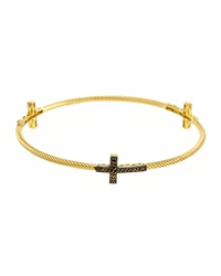 Jude Frances Rope Cross Bangle Bracelet Gold Black Tan Silver