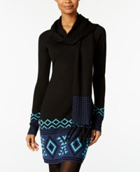 Energie Juniors' Patty Sweater Tunic With Scarf Caviar Combo