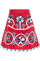 March11 Aliona Embroidered Linen Mini Skirt
