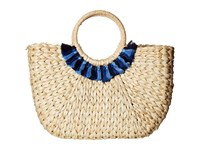Hat Attack Round Handle Tote Natural Blues Collar Tote Handbags Gold