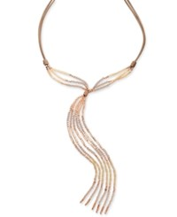 Inc International Concepts Rose Gold Tone Pink Beaded Imitation Suede Lariat Necklace Only At Macy's