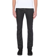 Diesel Thavar Ne Slim Mid Rise Leather Effect Jeans Denim