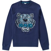 Kenzo Silk Face Tiger Crew Sweat Blue