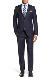 Men's Big And Tall Strong Suit 'Claymore' Trim Fit Stripe Wool Suit Navy Stripe